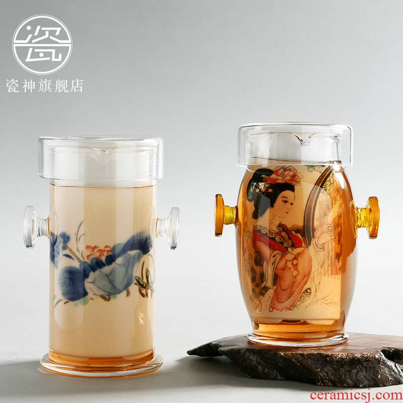 Red cup hot tea ware porcelain god glass tea set ears cup of filter blue and white porcelain teapot household with tea