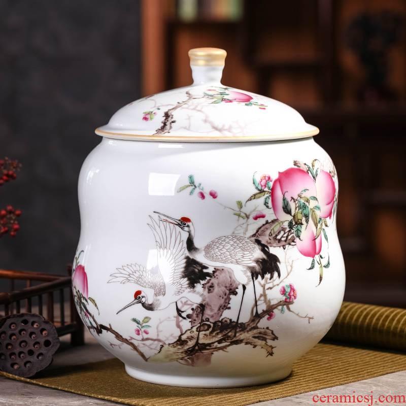 Jingdezhen ceramic large wake receives the puer tea cake caddy fixings tanks household seal pot porcelain POTS