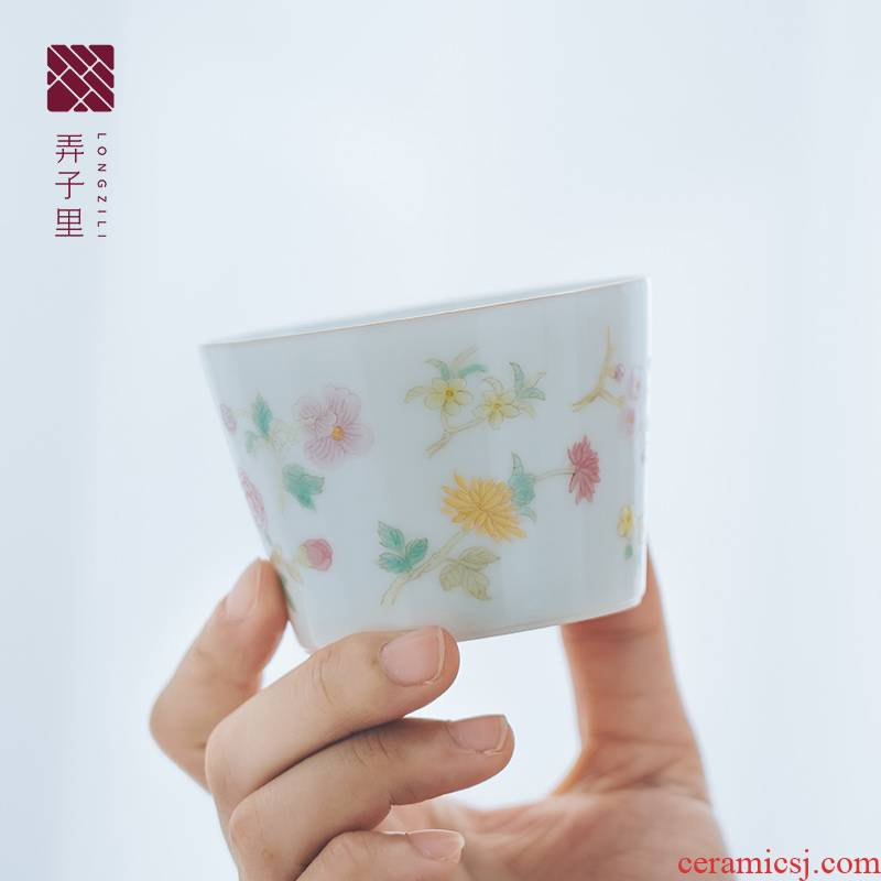 Lane. Jingdezhen masters cup sample tea cup hand - made pastel bamboo cup kung fu tea cup bamboo cup