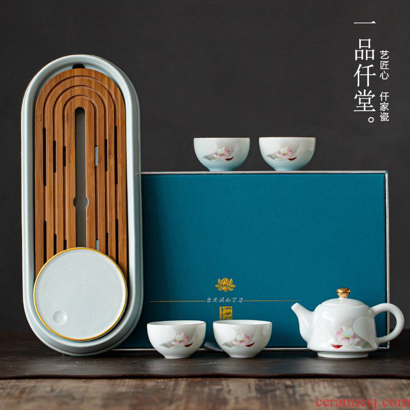 The Visitor yipin # $ceramic teapot set home office tea a pot of small four cups of tea set gift boxes