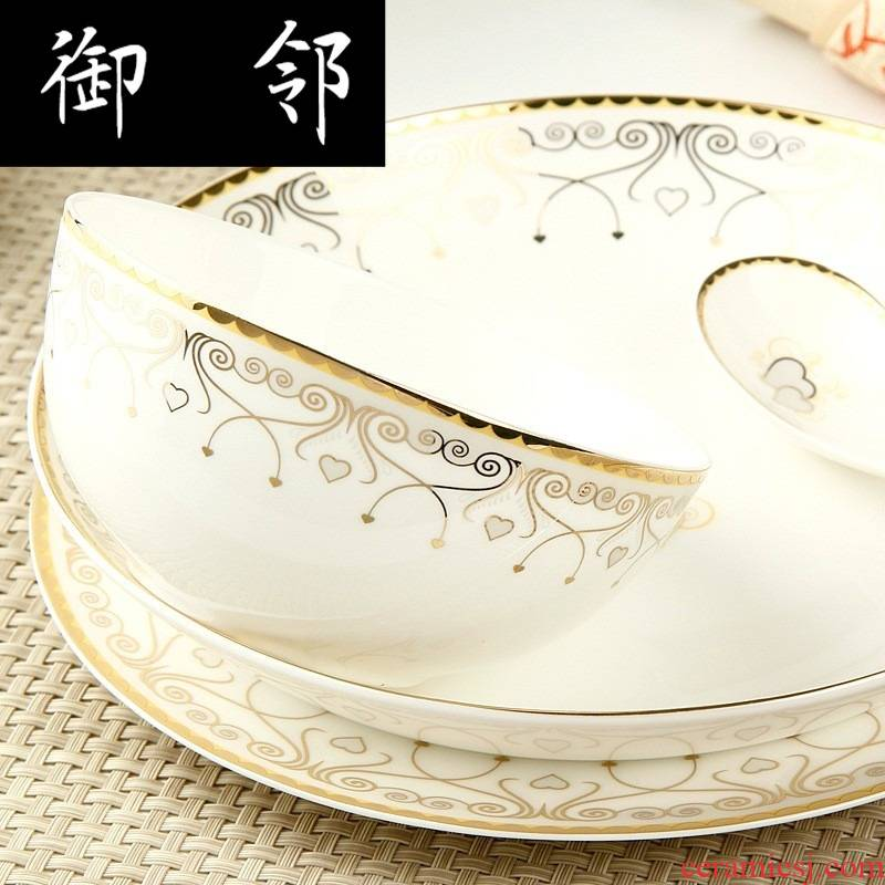 50 heads of propagated bowl suit ceramic tableware suit tangshan ipads bowls disc suit household porcelain