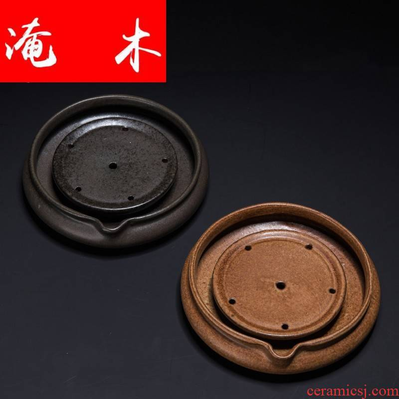 Submerged wood ling Ming jia manual pot bearing are it a cup mat imitation bronze cup thick desk tray TaoGan mercifully tea tray tea set