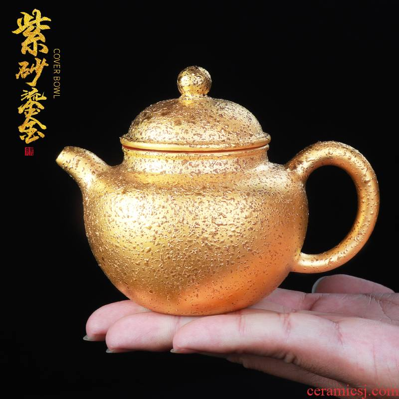 Artisan fairy yixing it undressed ore old purple clay checking household large teapot gold single pot of the teapot
