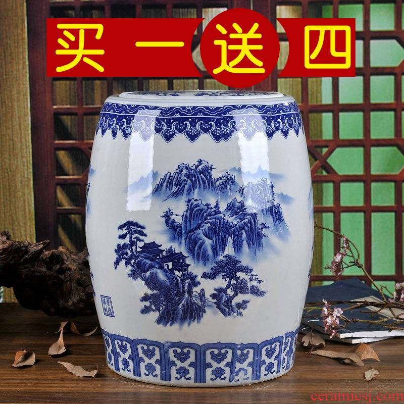 Jingdezhen ceramic barrel rice bucket 50 jins home 20 jins storage bins with cover seal insect - resistant moistureproof tank