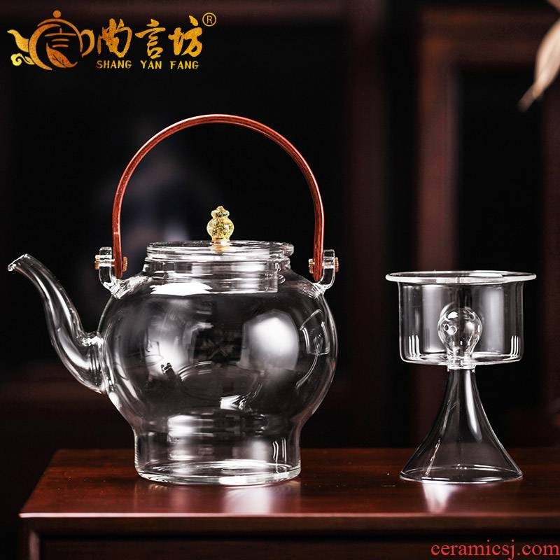 It still fang glass boiling heat resisting high temperature transparent teapot tea mercifully tea kettle boil kettle small home