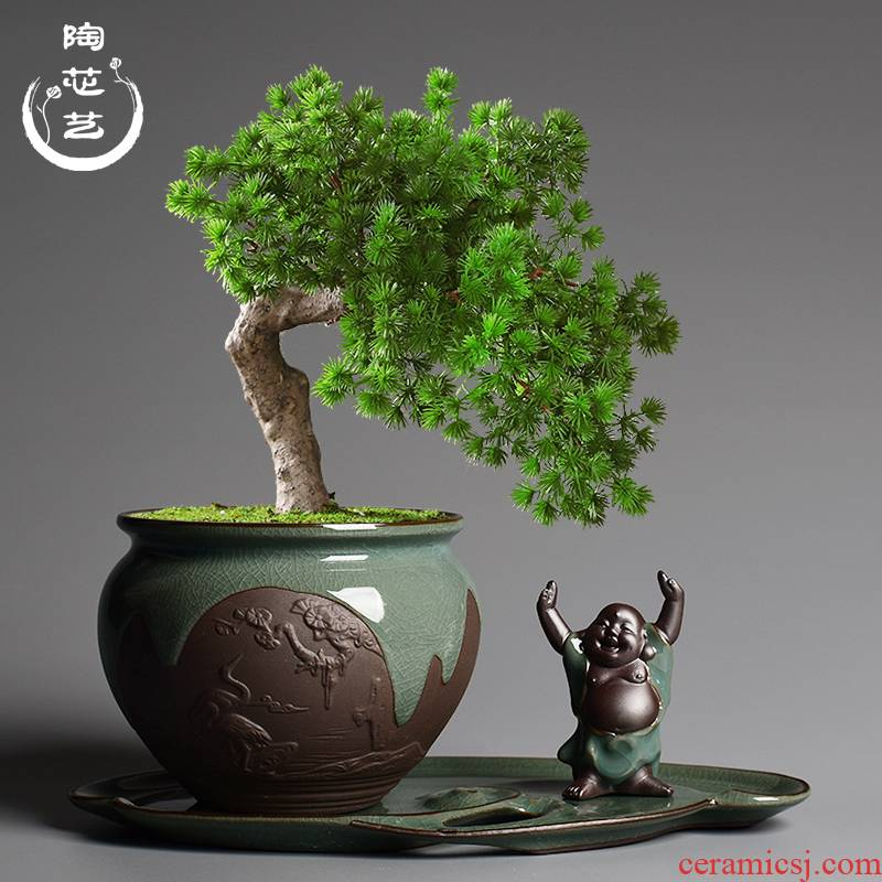 Chinese wind brother up POTS ceramic creative combination bonsai home green plant pot large plant pot