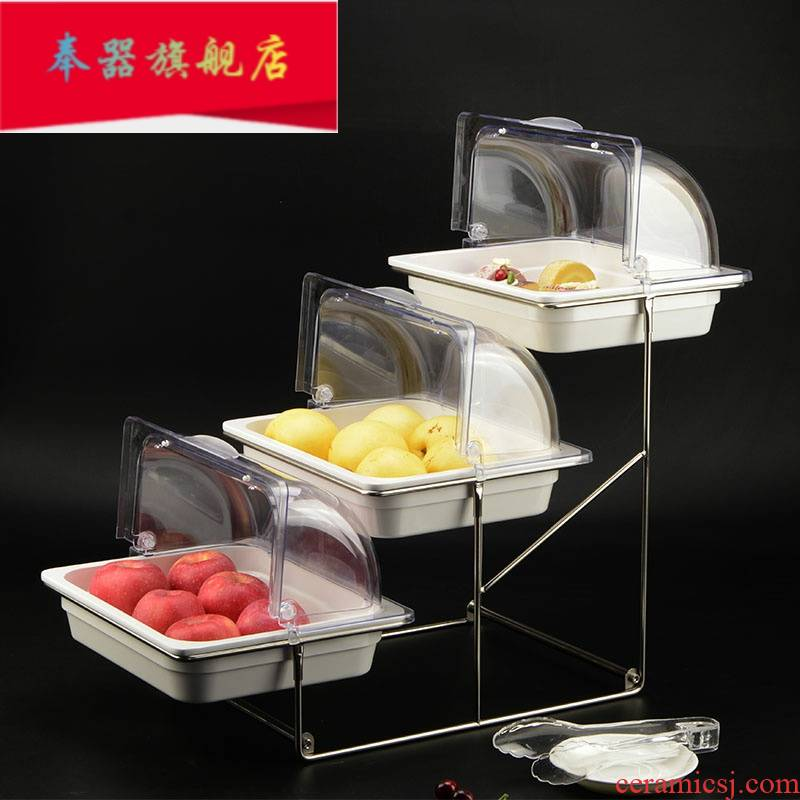 Buffet three the layers of fruit plate display shelf cake creative multilayer hotel breakfast bread tray with cover tableware