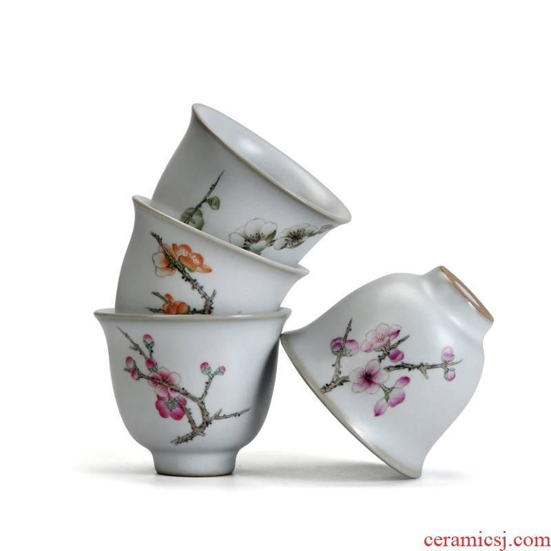 Xu dehua ceramic cups ink hand - made kung fu tea set to open the slice your up market metrix round koubei single CPU name plum blossom put sample tea cup