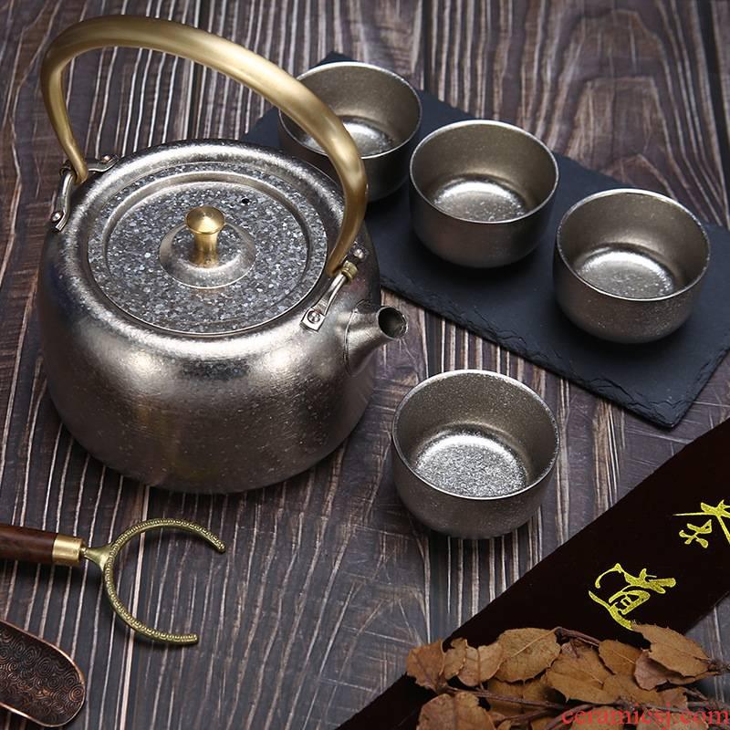 Four - walled yard teapot titanium pot of manual teapot home tea uncoated pure titanium pot gift set custom