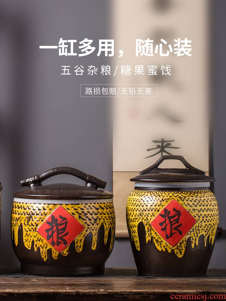 10 jins of jingdezhen domestic ceramic barrel seal flour rice storage box 20 jins 30 jins moistureproof insect - resistant ricer box