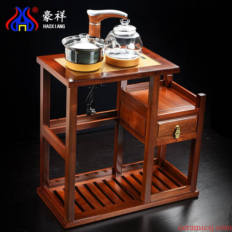 Hao auspicious spend pear wood, mobile car of a complete set of tea tea tea sets tea tray induction cooker balcony small tea tank