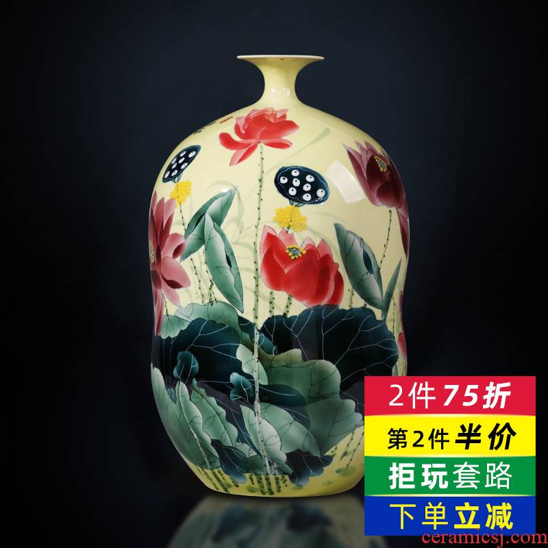 Jingdezhen ceramics powder enamel vase hand - made lotus gourd bottle of flower arranging furnishing articles sitting room of Chinese style household ornaments