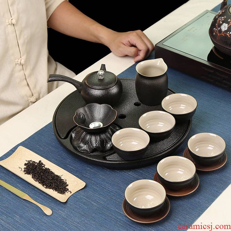 Black glaze loading of a complete set of creative tea tray was dry mercifully kung fu tea set 6 people ultimately responds tea side put the pot of household contracted gift box