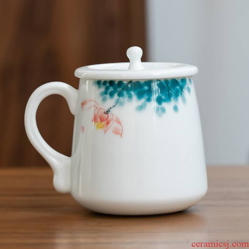 Fujian and ceramic cups with cover office household manual large - capacity glass tea cup personal creative mugs