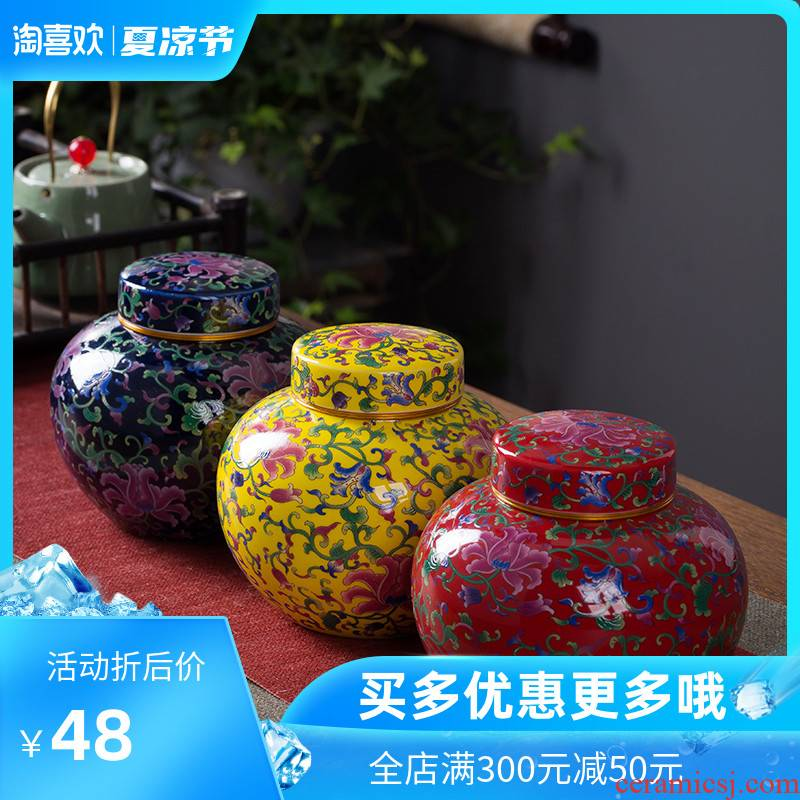 The Crown chang caddy fixings ceramic seal tank household individuality puer tea, green tea moistureproof colored enamel store tea pot