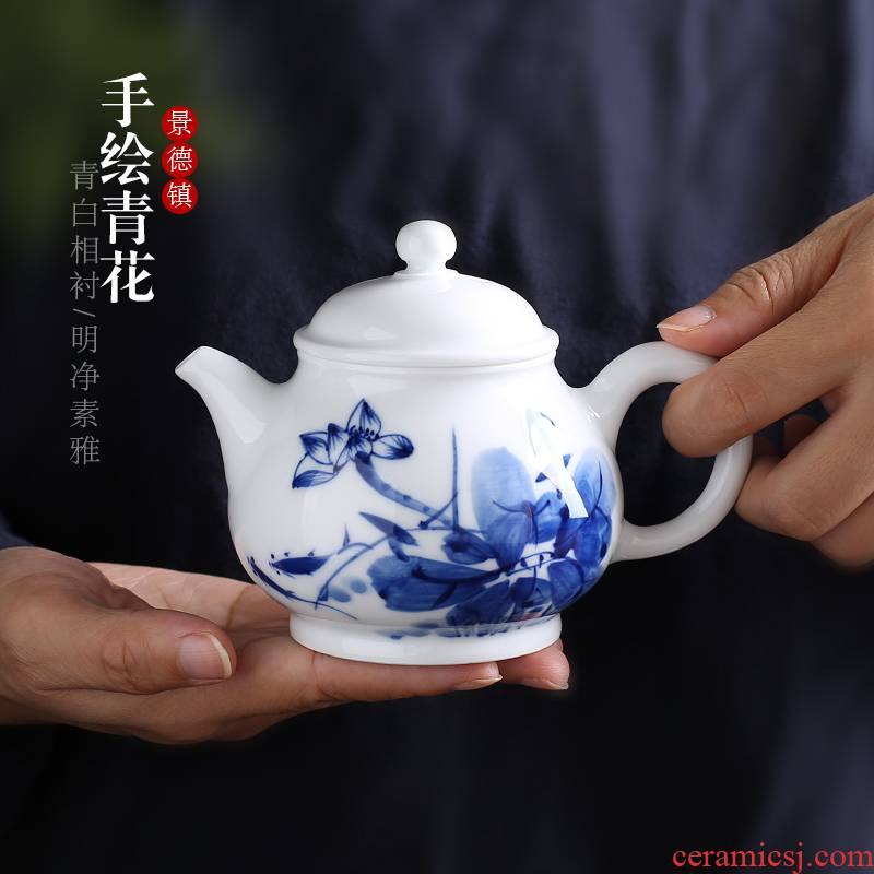 Jingdezhen up the fire which ceramic teapot filtering hand - made kung fu tea set of blue and white porcelain tea, small single pot