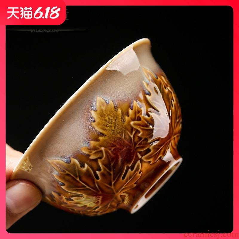Hold to guest comfortable red yellow glaze anaglyph maple leaf dehua ceramic tea set new opening gifts customized business gifts