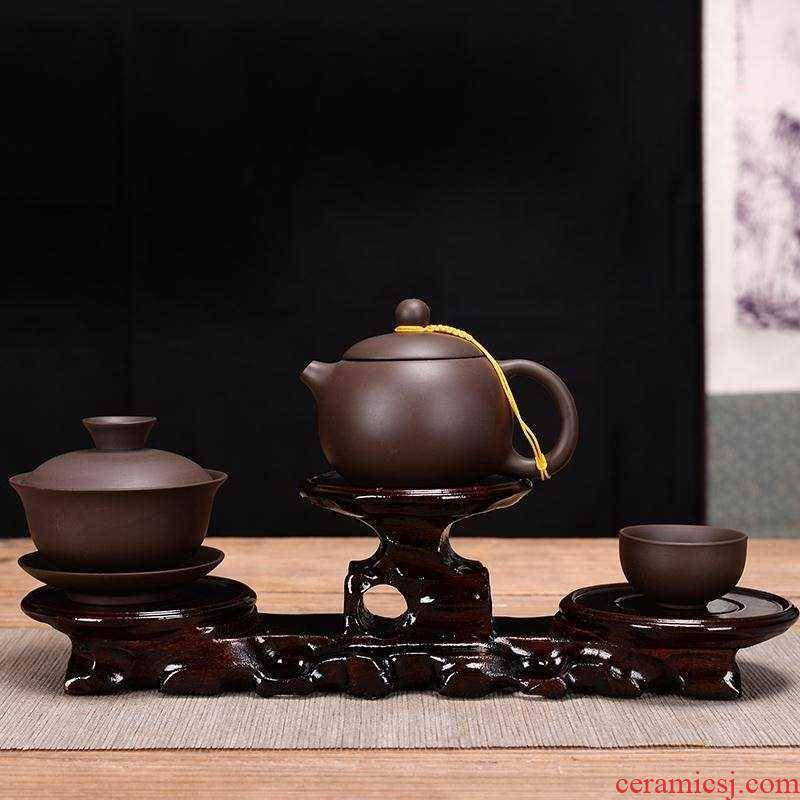 A pot of an artifact are it pot pad A pot A pot of bearing cup mat cup wooden base pot holder frame kung fu tea tea