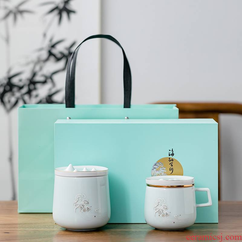 Fujian gen mugs separation ceramic creative tea cups with cover household glass tea cup custom office