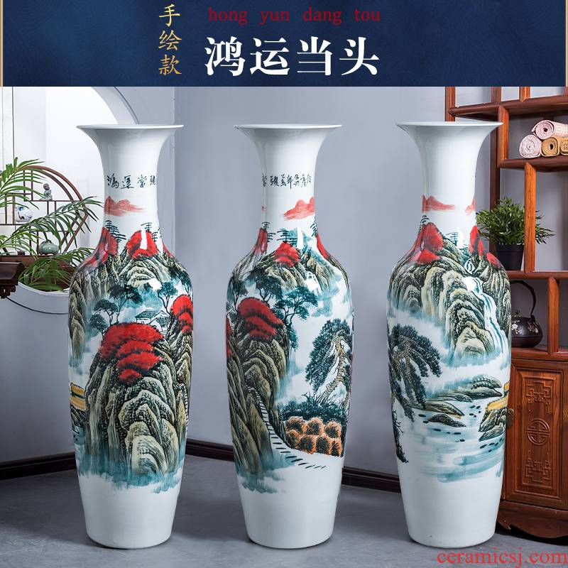 Jingdezhen porcelain ceramic hand - made luck, large vases, new Chinese style hotel sitting room adornment is placed