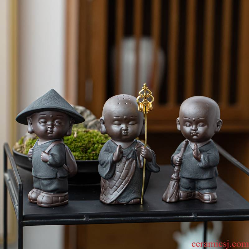 The little novice monk pet furnishing articles furnishing articles violet arenaceous tea zen tea tea table decoration furnishing articles individuality creative young monk tea sets