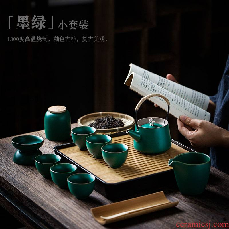 ShangYan kung fu tea set suit household Japanese teapot teacup tea tray was contracted small office of a complete set of tea set