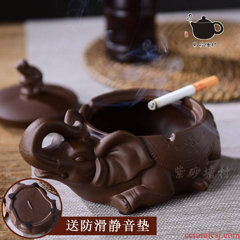 Rhinoceros, violet arenaceous Chinese penjing creative move household large sitting room the bedroom of wind practical with cover ash smoke plate