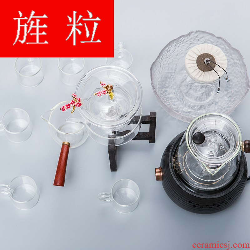 Continuous grain of lazy half automatic Japanese tea suit kung fu home cooked tea stove tureen glass teapot