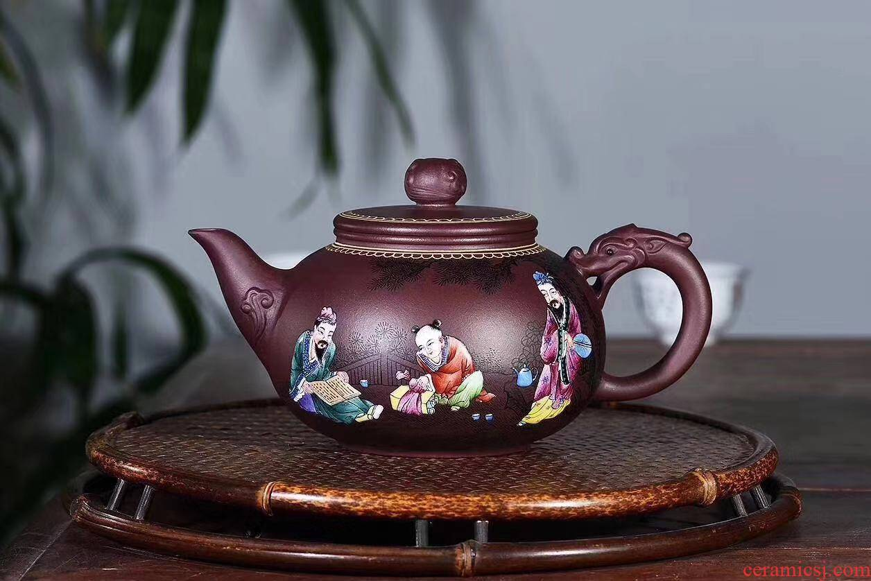 Four - walled yard authentic fine it yixing masters all pure hand yunlong pot pot of high - quality goods colored enamel teapot collection