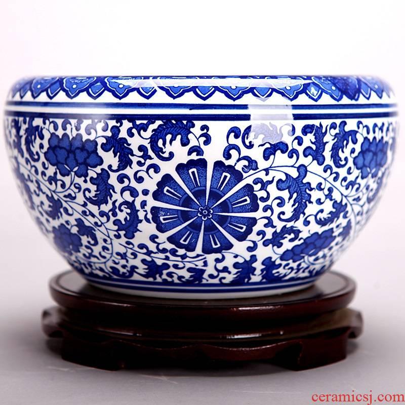 107 jingdezhen ceramic aquarium fish tank water lily bowl lotus basin flower POTS round of horticulture plant POTS