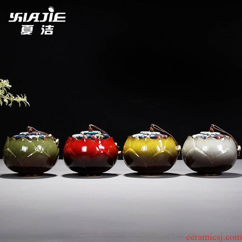 Four - walled yard caddy fixings medium ceramic tea box storehouse of jingdezhen tea service manual lotus POTS travel trumpet