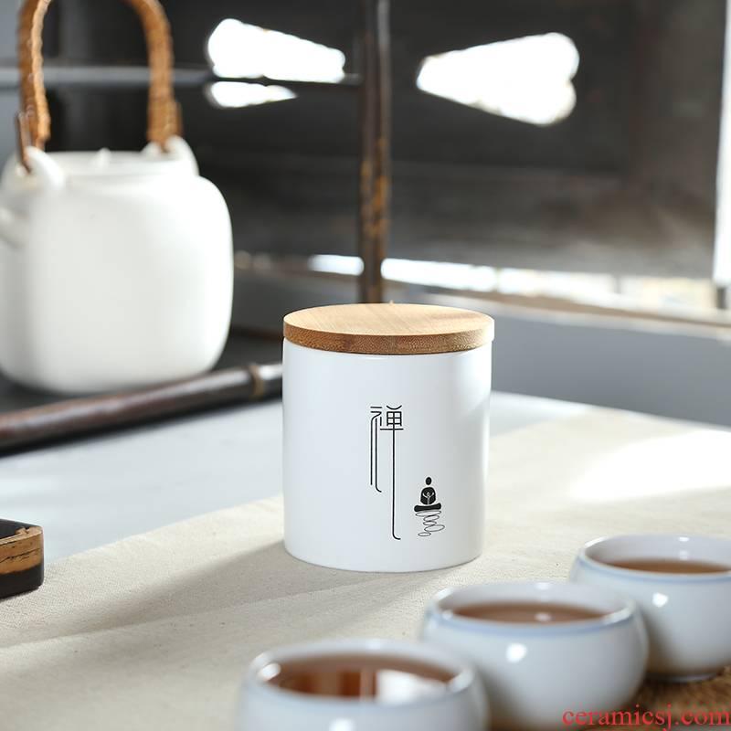 Art of up sealing ceramic tea caddy fixings tea pot of pu 'er tea accessories round bamboo tea urn cover storage POTS