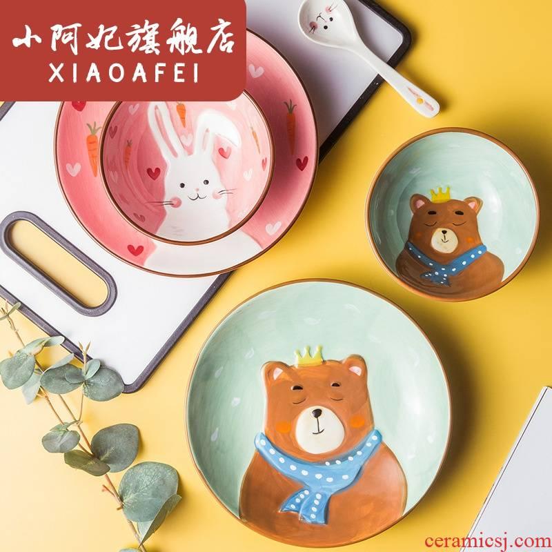Express animals creative household jobs points tray was baby tableware ceramics tableware children suit cartoon breakfast tray