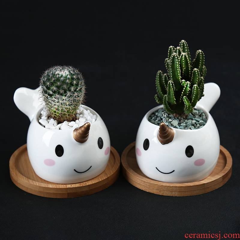 White meat flowerpot more ceramic creative move, lovely indoor plant celestial being special flower implement small desktop