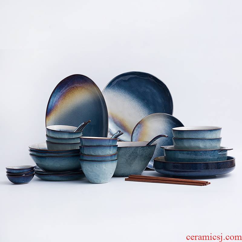 Ceramic tableware suit ins web celebrity tableware move northern dishes dishes wedding gift sets
