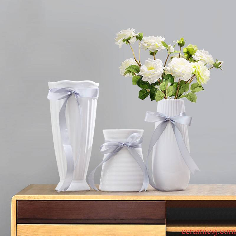 Vase furnishing articles dried flower arranging flowers home sitting room adornment mini hydroponic lucky bamboo ceramic vases, small and pure and fresh
