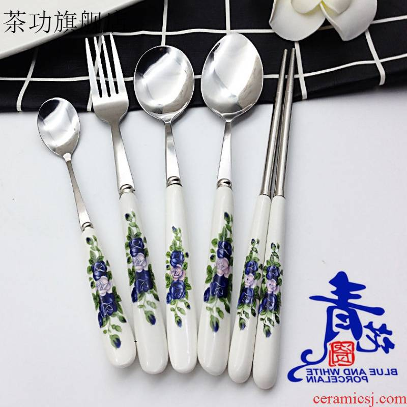 Creative household ceramics stainless steel handle portable chopsticks spoons spoon, spoon, spoon, ladle suit adult students