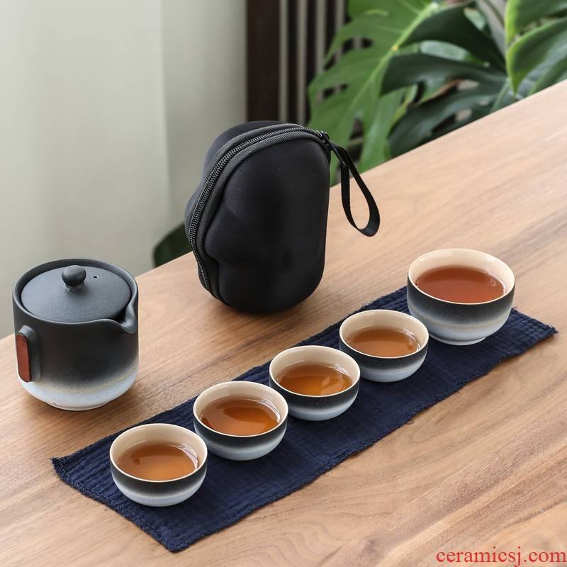 Poly real (sheng coarse pottery work travel crack cup is suing ceramic tea cup 5 cups of tea set a pot of on - board, tea sets