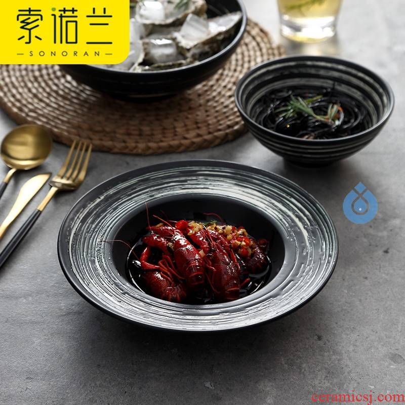 Straw plate creative big soup dish of ceramic bowl move dark porcelain soup plate of kitchen utensils supplies