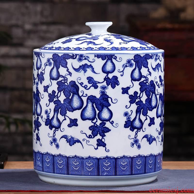 Jingdezhen ceramic POTS caddy fixings bread seven large tea urn home wake seal pot store pu - erh tea POTS