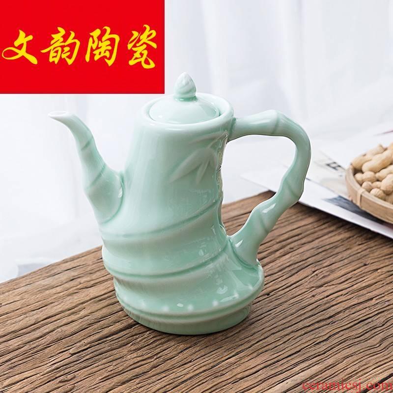 Celadon little hip antique wedding wine ceramic wine yellow wine pot home liquor hip a restoring ancient ways