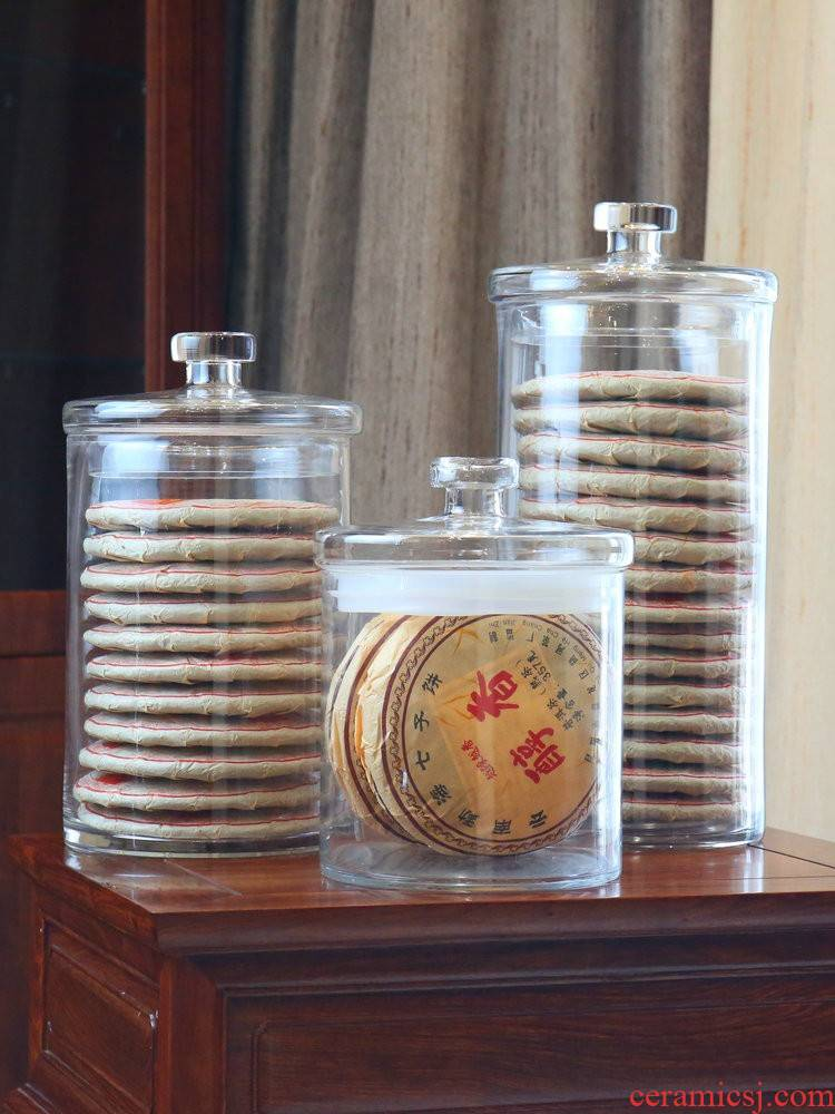 Puer tea cake storage tanks to heavy large glass sealed cylinder storage tank Puer tea pot tea cake home