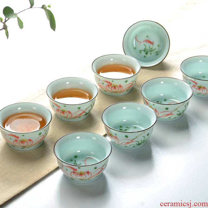 The Art of celadon hand - made teacup kung fu tea set sample tea cup tea accessories small tea cup household fragrance - smelling cup