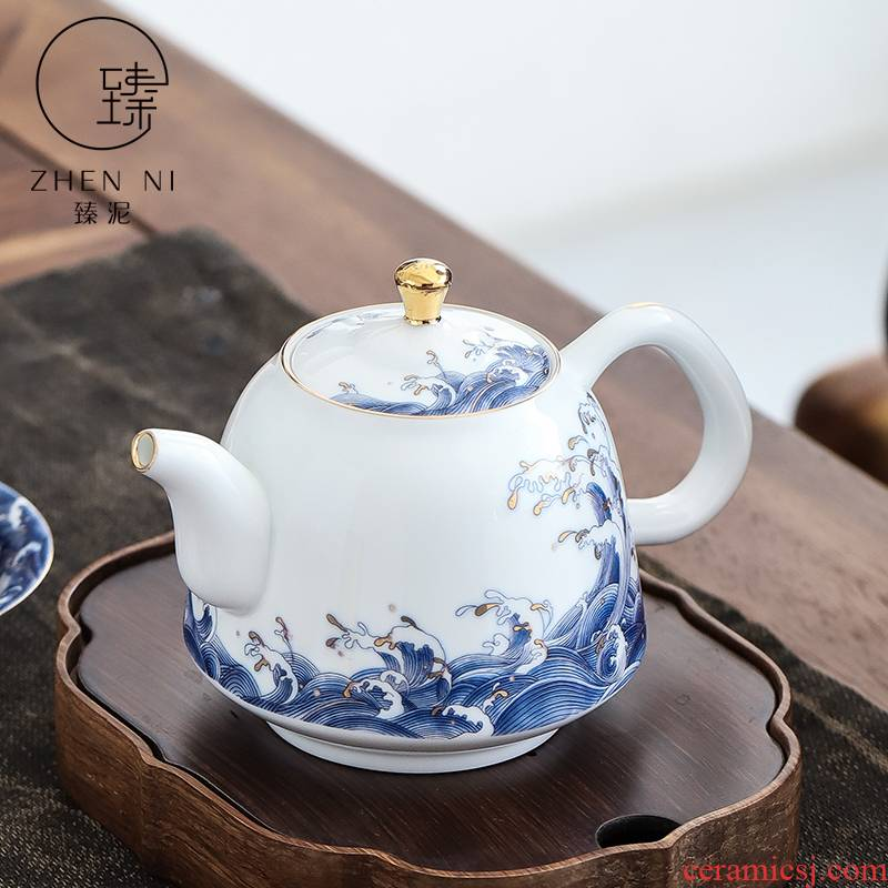 By clay teapot manual white porcelain enamel paint kung fu tea set household ceramics filter tea tea kettle