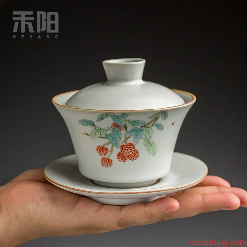 Restoring ancient ways send Yang tea only three tureen ceramic cups azure your up open a large slice of kung fu tea tea bowl