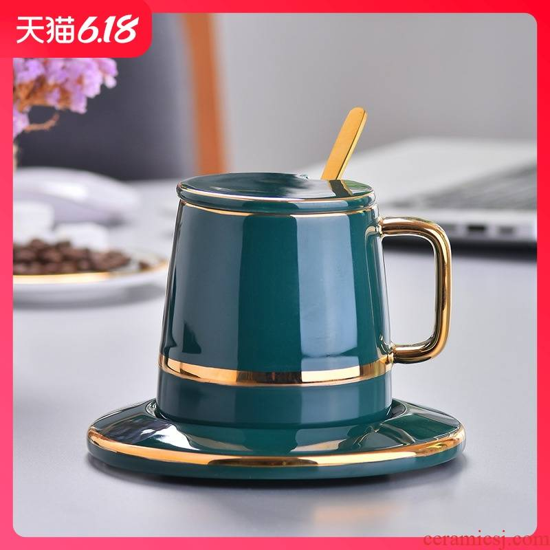 Guest comfortable new creative northern wind resistant ceramic cup home retro elegant afternoon tea cup coffee cups and saucers three - piece suit
