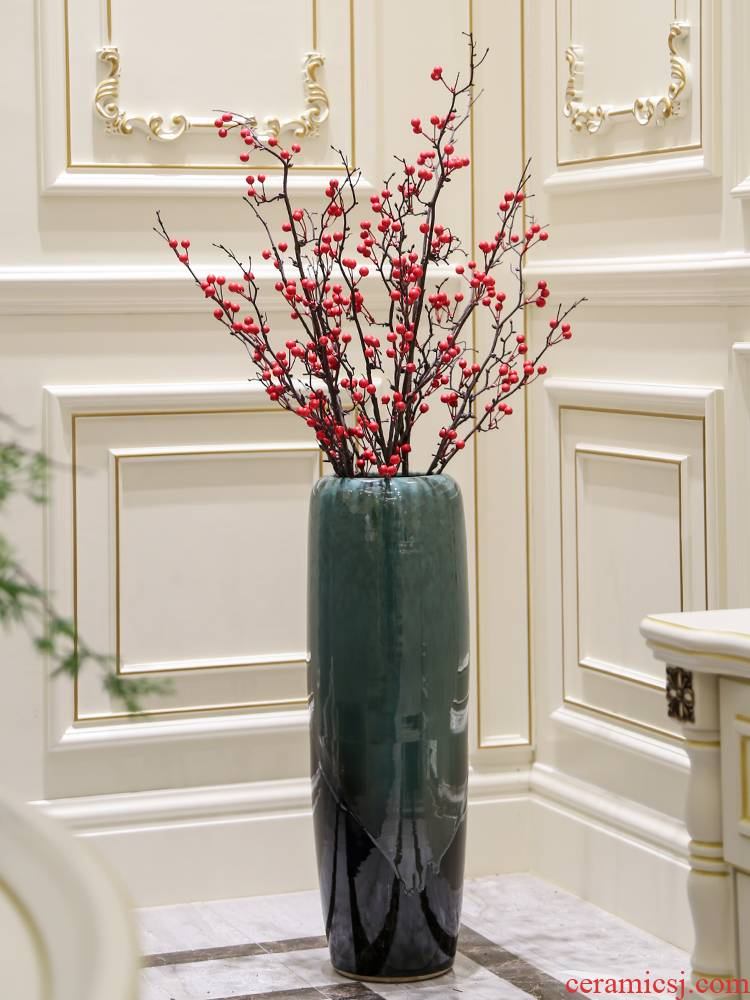 High - grade large branches of red berry fruit wutong fruit large ground dried flowers floral furnishing articles pottery decorative flower arrangement