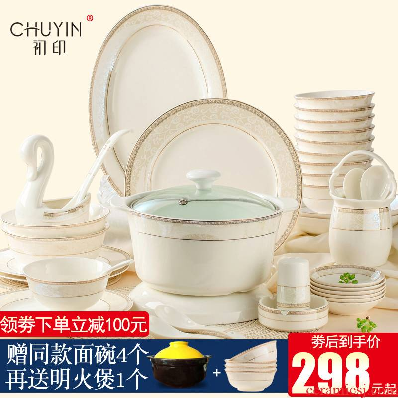 Dishes suit Dishes with jingdezhen ceramic rice bowl chopsticks Korean up phnom penh contracted combination ipads porcelain tableware suit
