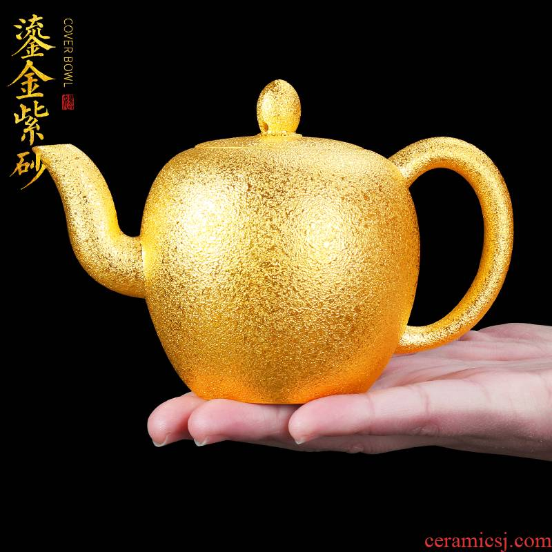 Artisan fairy gold it single pot of belt filter all hand home run of mine ore large purple clay teapot with tea