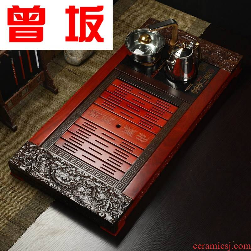 Once sitting factory hua limu ebony tea tray ceramic tea set four unity electrical undertakes a